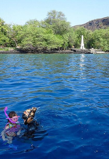 The Captain Cook monument at Kealakekua Bay in Hawaii.